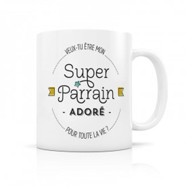 Image de 'Label tour mug Parrain adoré'